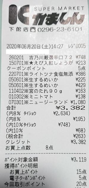 かましん 下館店 2020/6/20 のレシート