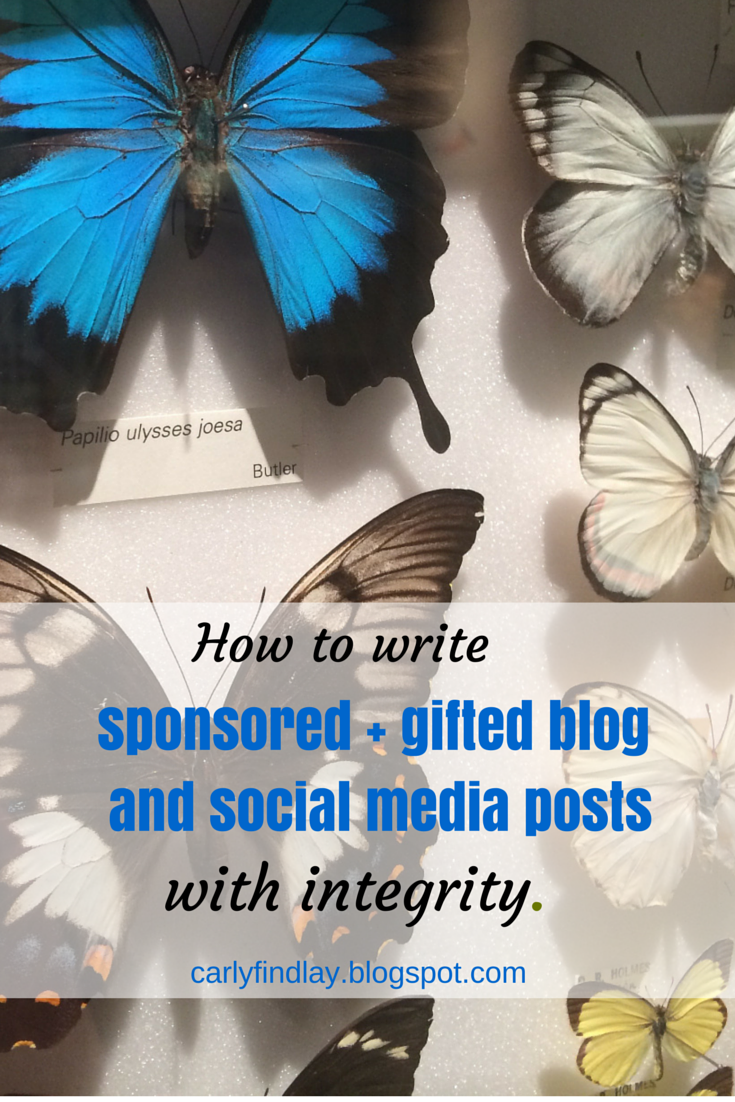 Pic of butterflies behind glass. Text reads: How to write sponsored + gifted blog and social media posts with integrity.