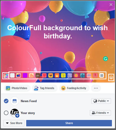 Write text in colour full backgroud
