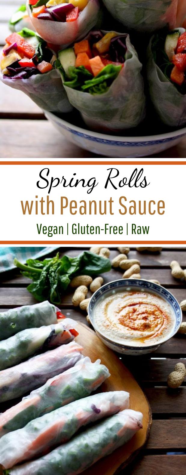 Fresh Vegan Spring Rolls with Peanut Sauce #plantbased #vegetarian
