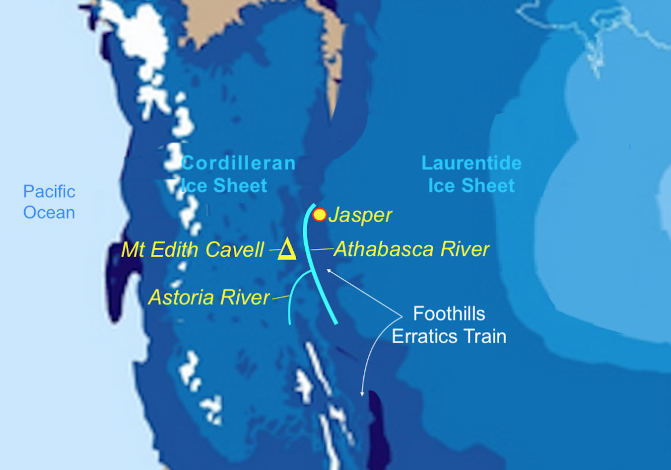 map showing the area of mt edith cavell the city of jasper and the general area of the jasper national forest along with the athabasca and astoria rivers