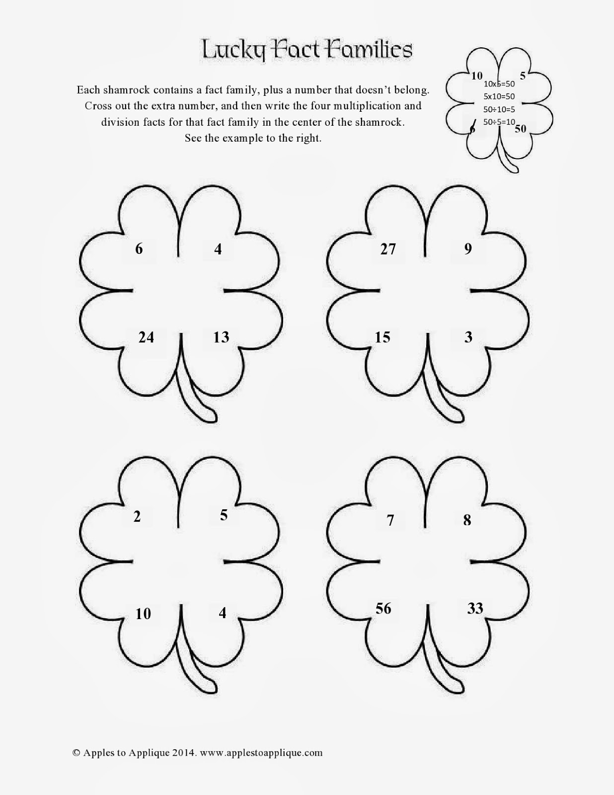 Apples To Applique St Patrick S Day Math Printables