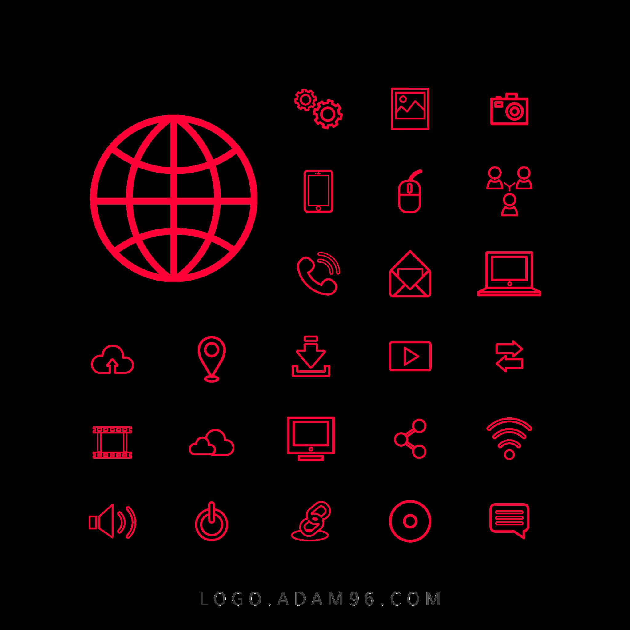 تحميل ايقونات تكنولوجيا لتصميم المواقع Free Icons PNG