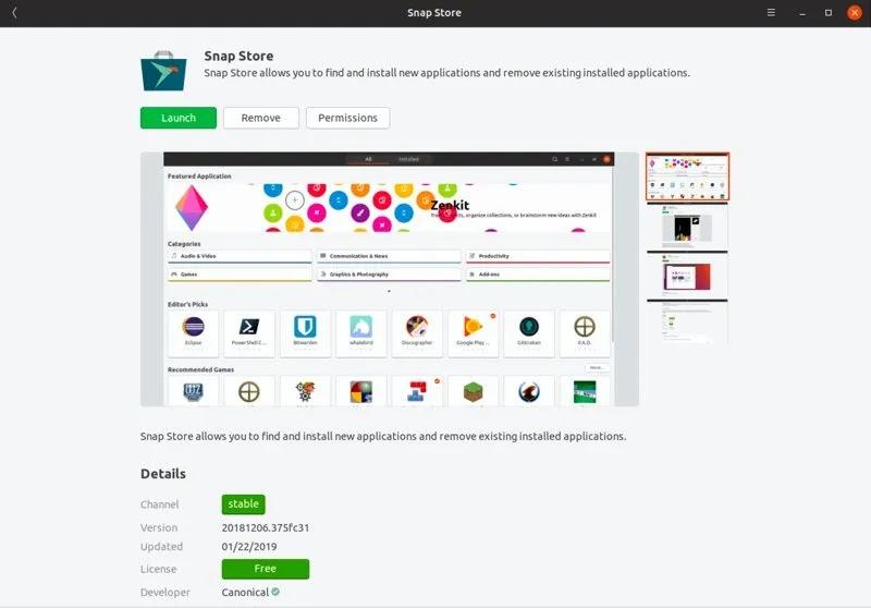 أفضل ألعاب ubuntu-snap-store-install
