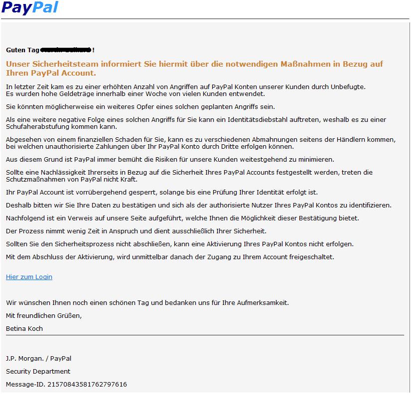 phishing mail alerts ihr paypal account erfordert eine aktualisierung. Black Bedroom Furniture Sets. Home Design Ideas