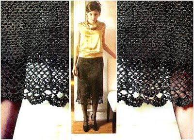 Falda básica negra con brillo a ganchillo