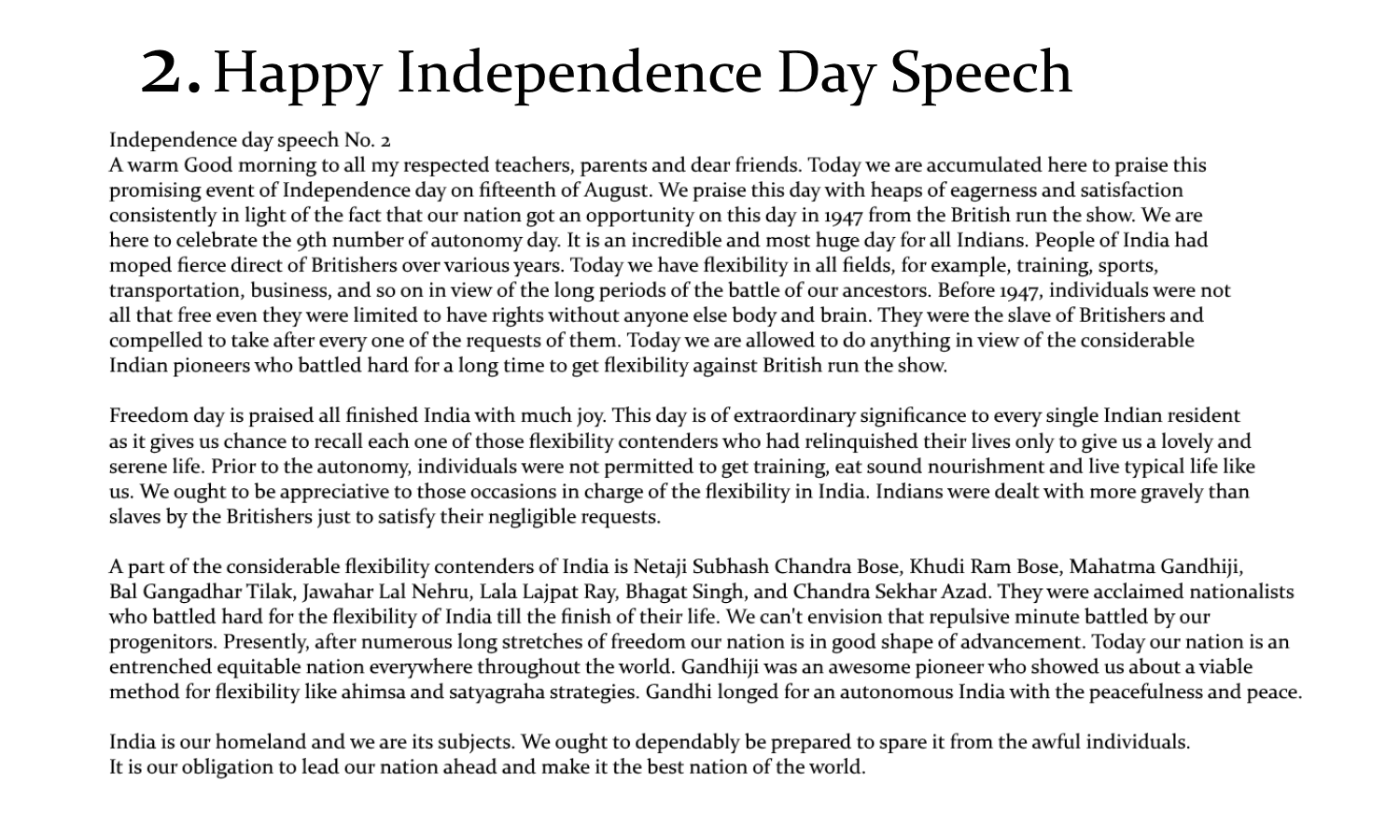 best speech on independence day