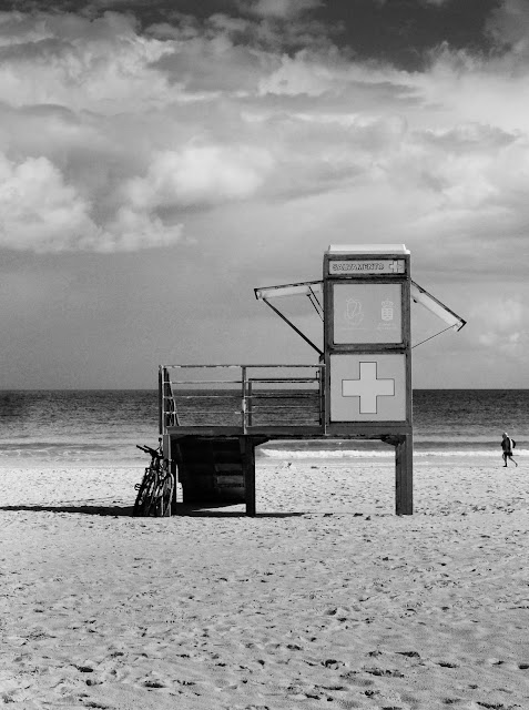 Lifeguard Tower, Euro Beach, Black & White Photography. Beach, First Aid