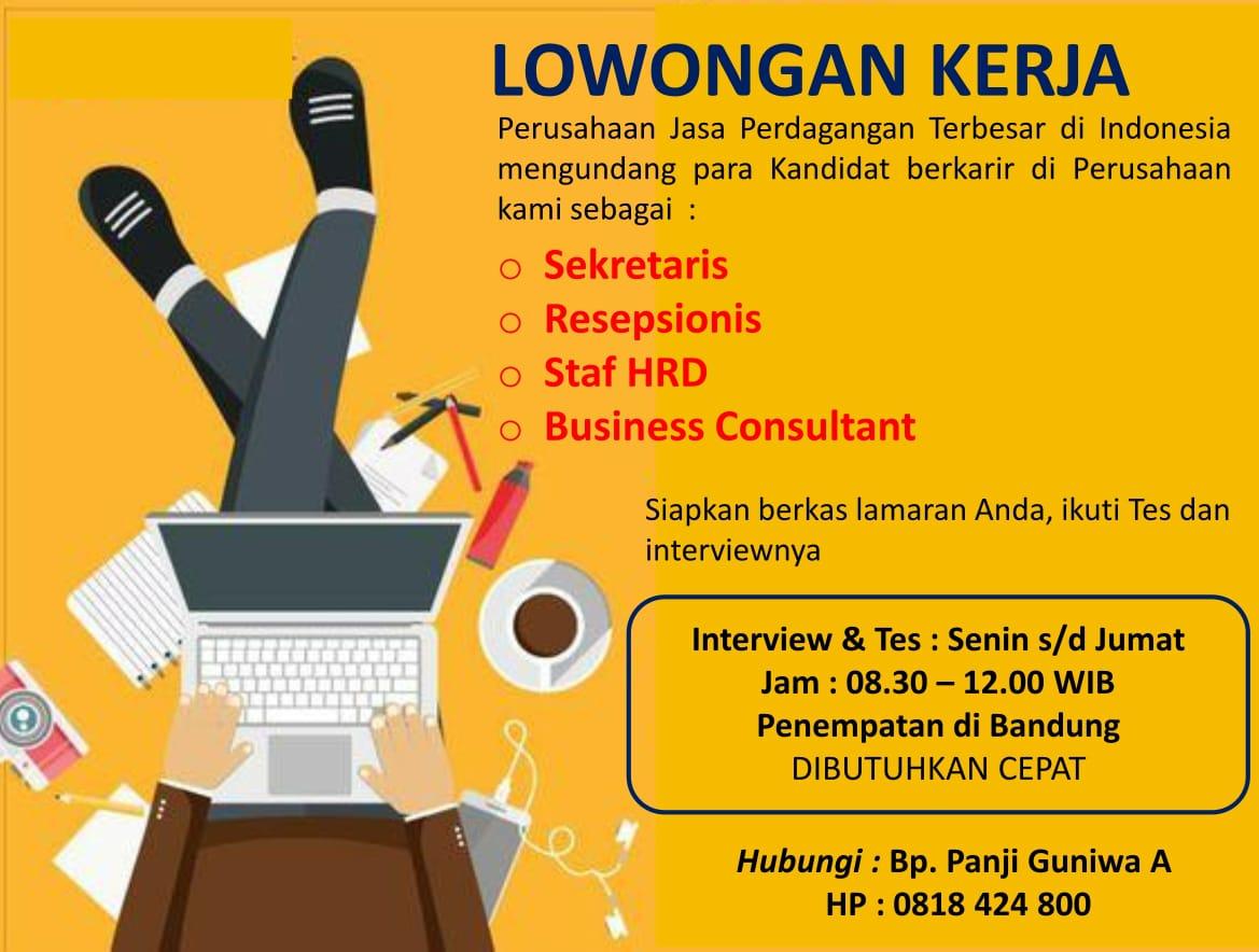 Lowongan Kerja Perusahaan Jasa Perdagangan Bandung Januari 2020