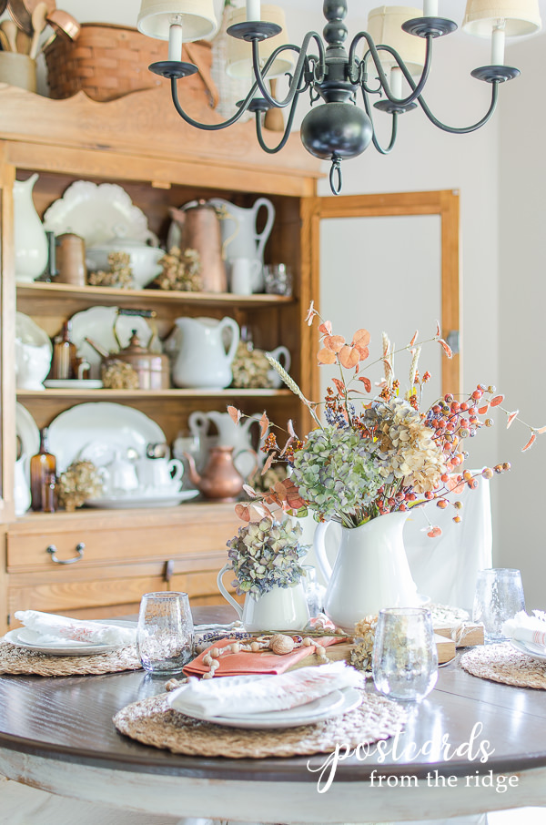 fall table setting with muted colors