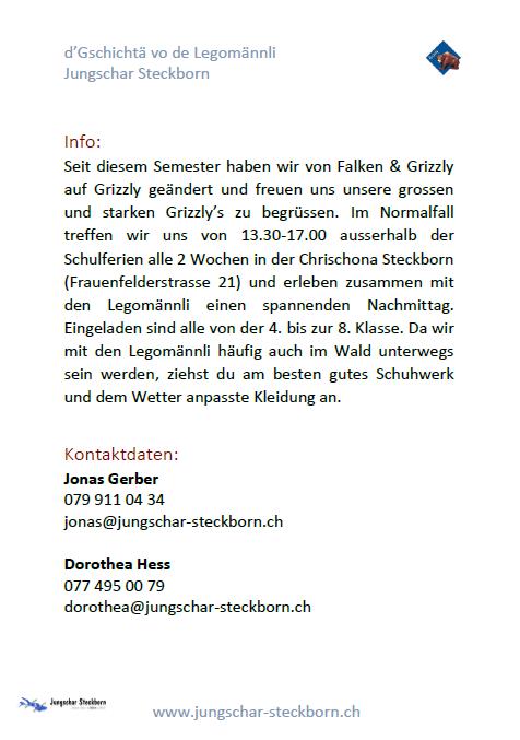 Jungschar Steckborn Grizzly Programm D Gschichta Vo De Legomannli