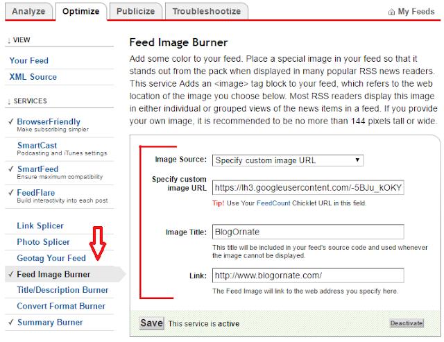 Configure Feed Image Burner of Feedburner