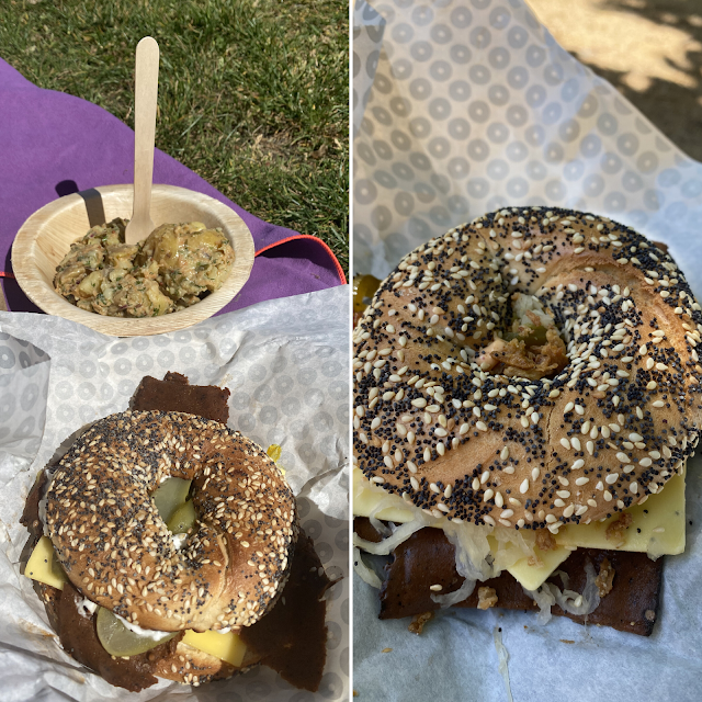 Two Bross Bagels there is also a wooden bowl with potato salad in the left photo