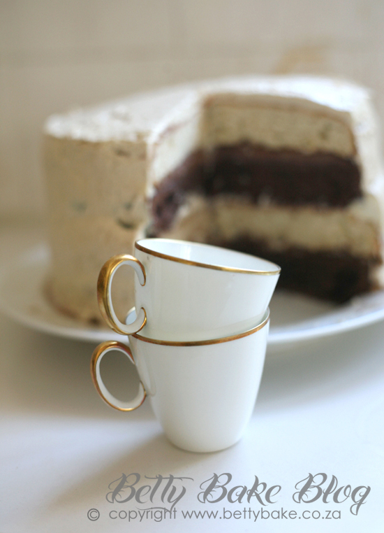 chocolate and vanilla cake, betty bake, espresso cups, vintage, dark and light cake, two tone cake