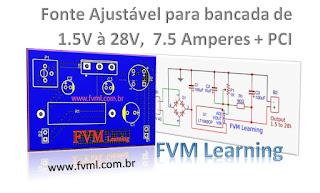 Circuito para Fonte de Bancada Ajustável de 1.5V à 28V,  7.5 Amperes Com CI LT1083 + PCI
