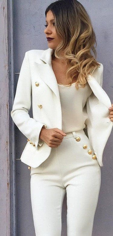 Office Look Golden Button Up Blazer And High Waisted