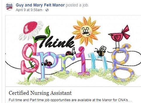 Guy Mary Felt Manor Is Hiring