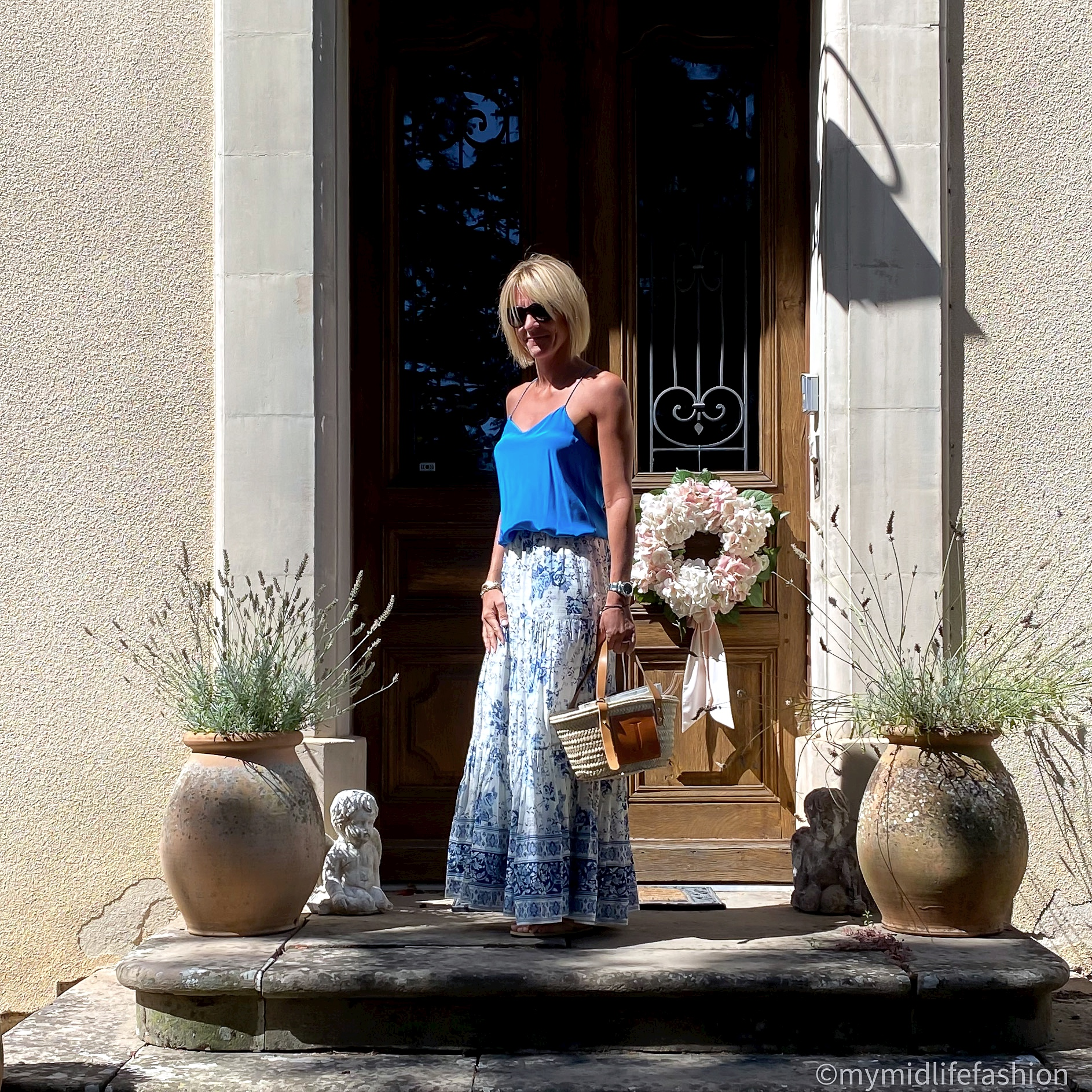 my midlife fashion, tibi silk camisole, zara tiered floral maxi skirt, lada jewelry monogrammed basket, havaiana slim fit metallic flip flops