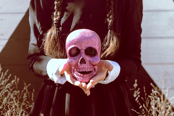 Purple glitter skeleton