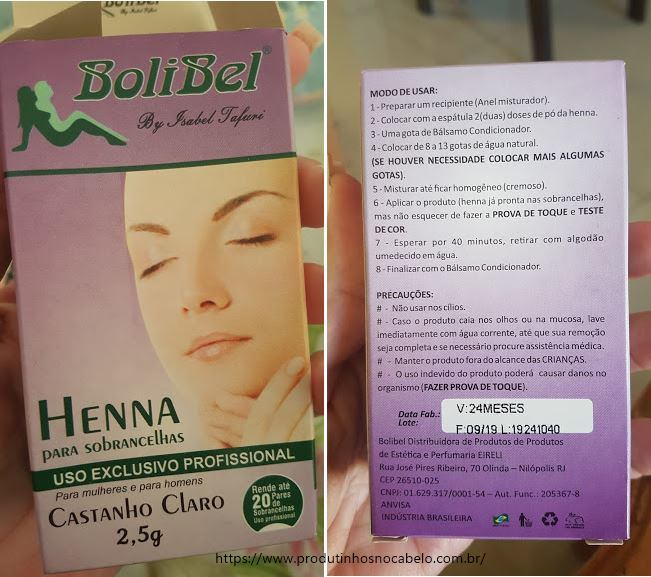 caixinha da henna para sobrancelhas bolibel