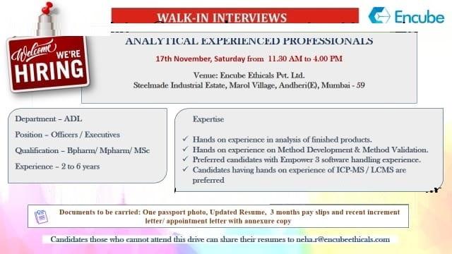 Encube Ethicals Pvt. Ltd Walk In Interview For AB.Pharm, M.Pharm, M.Sc at 17 November
