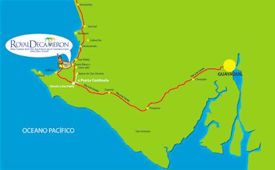 mapa como llegar Royal Decameron Punta Centinela - Santa Elena Salinas