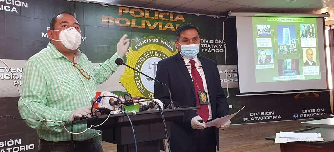 Viceministro Santamaría desglosando el organigrama criminal del fraude de 2019 / ABI