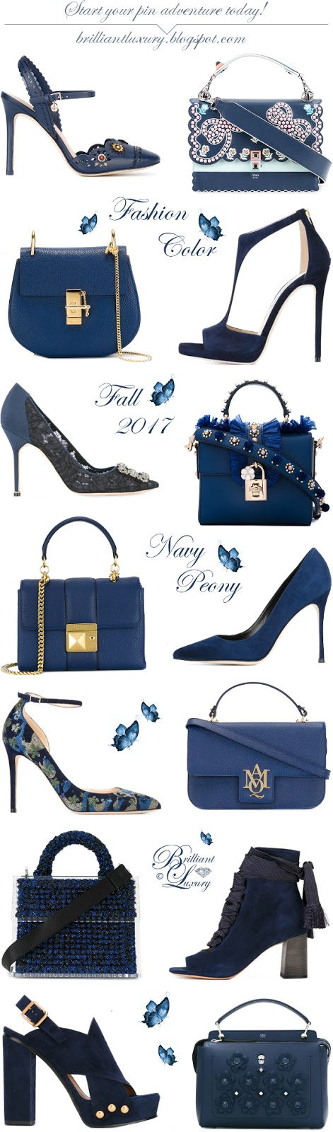 Brilliant Luxury ♦ Fashion Color Fall 2017 ~ navy peony
