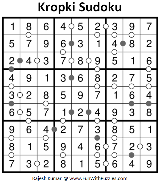 Kropki Sudoku Puzzles (Fun With Sudoku #224) Solution