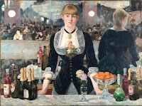 illustrative painting of A Bar at the Folies-Bergère by French modernist painter Édouard Manet, circa 1882