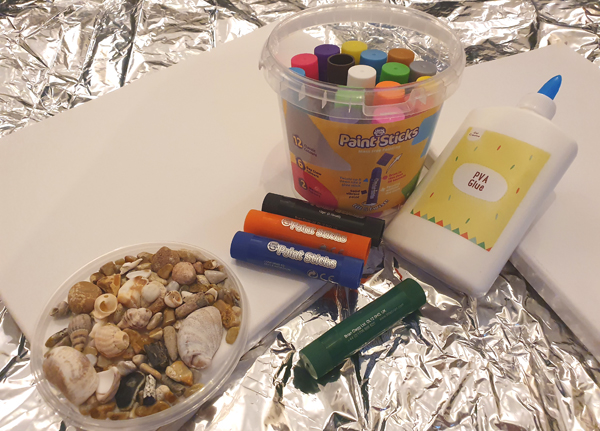 Materials needed to create a seaside masterpiece