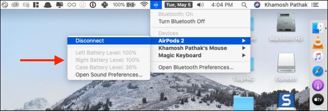 التحقق من عمر بطارية AirPods على Mac