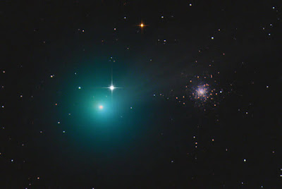 Astrophotographer Chris Schur captured Comet Lovejoy   C/2014 Q2 with globular cluster  M79 on Dec. 28, 2014,   from Payson, Arizona.