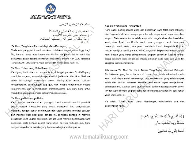 doa upacara bendera peringatan hgn hari guru nasional 2020 tomatalikuang.com