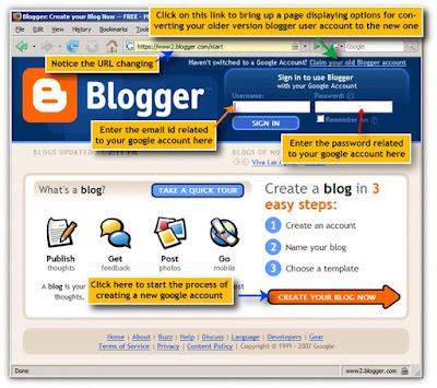 Eski bir Blogger arayüzü