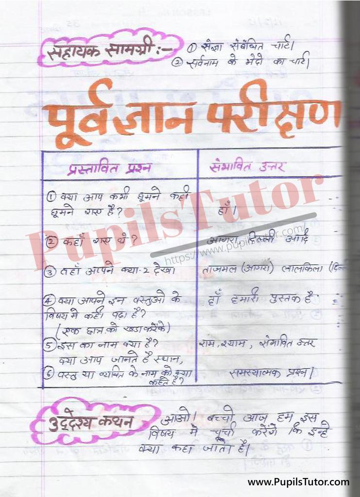 बीएड ,डी एल एड 1st year 2nd year / Semester के विद्यार्थियों के लिए हिंदी की पाठ योजना कक्षा 4,5,6 , 7 , 8, 9, 10 , 11 , 12   के लिए संज्ञा  और सर्वनाम टॉपिक पर