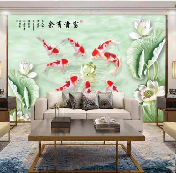 Tranh Dán Tường 3D Hoa Sen Cửu Ngư Phòng Khách Đẹp
