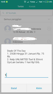 Promo Paket Internet Telkomsel Deals Of The Day 25GB Cuma Rp. 75 Rb