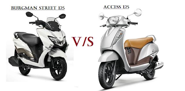 Comparison between Suzuki Burgman street 125 and Suzuki Access 125