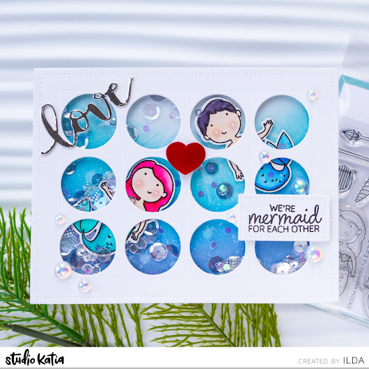 Mermaid for Each Other Valentine Shaker Card | Studio Katia