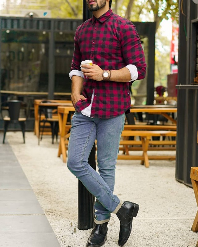 Burgundy colour shirt and grey jeans