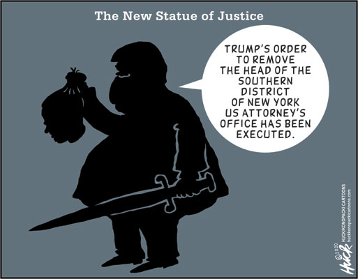 Title:  The New Statue of Justice.  Image:  AG William Barr holding sword in one hand and the head of US Attorney  in the other while saying