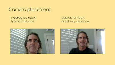 Comparing images captured with laptop on table at typing distance to laptop on box where you have to reach