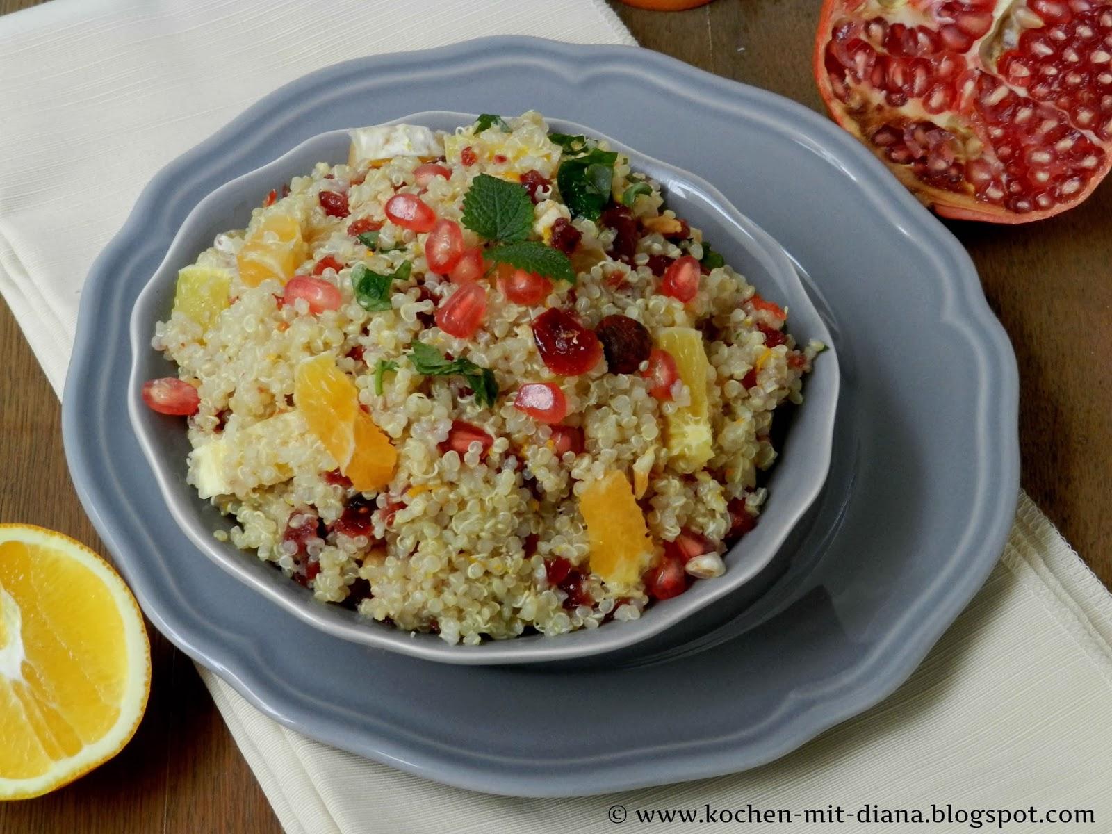 Quinoa Salat mit Preiselbeeren und Orangen