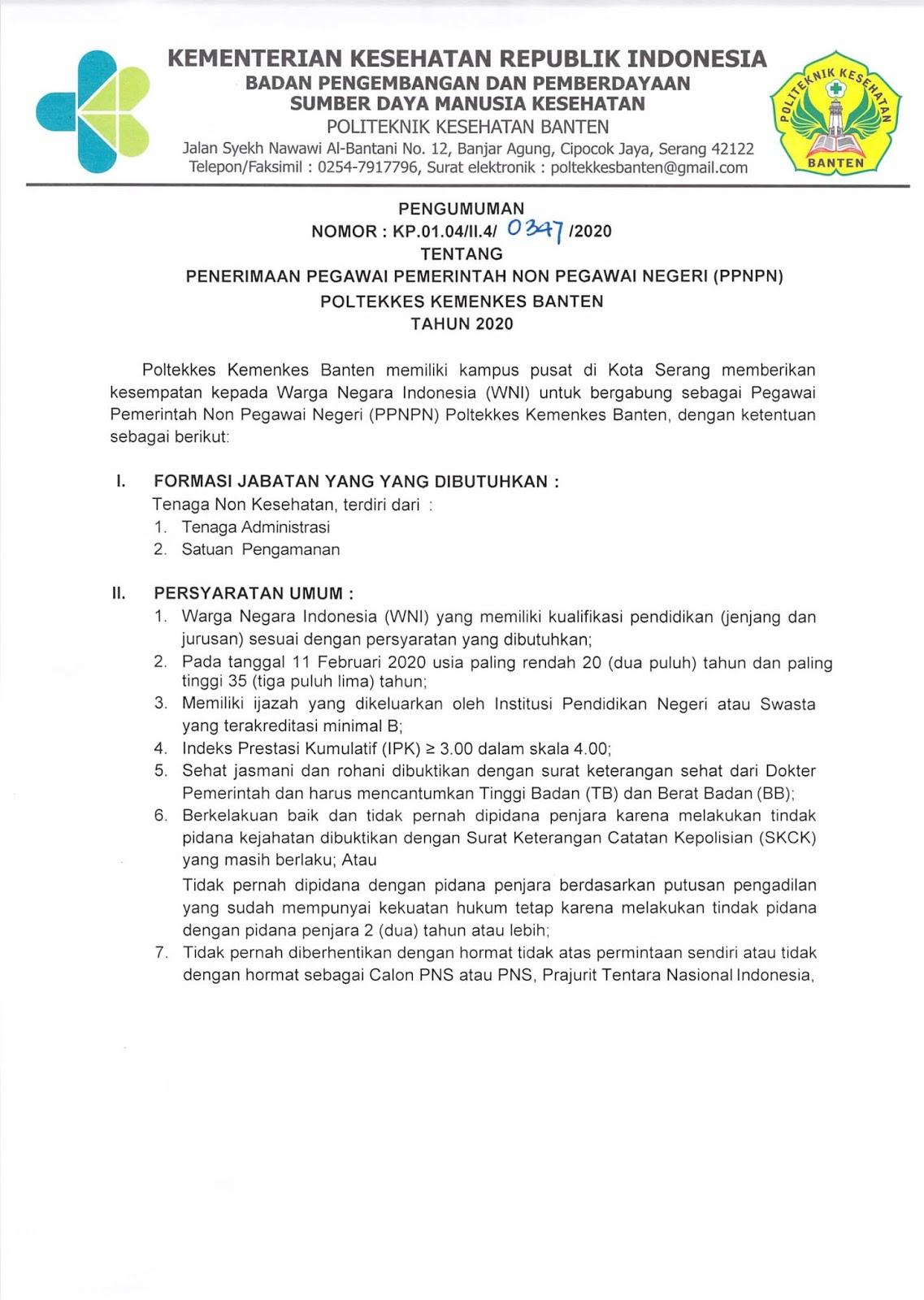 Lowongan Pegawai Non PNS POLTEKKES Kementerian Kesehatan Minimal SMA Tahun 2020
