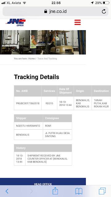 Tracking JNE sudah keluar sebelum pesanan ada.