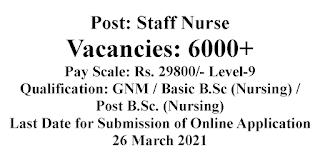 Staff Nurses Jobs- 6000+ Vacancies