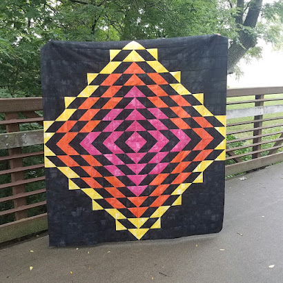 Water Drop quilt made using Moda grunge fabrics, pieced by Maeberry Square.