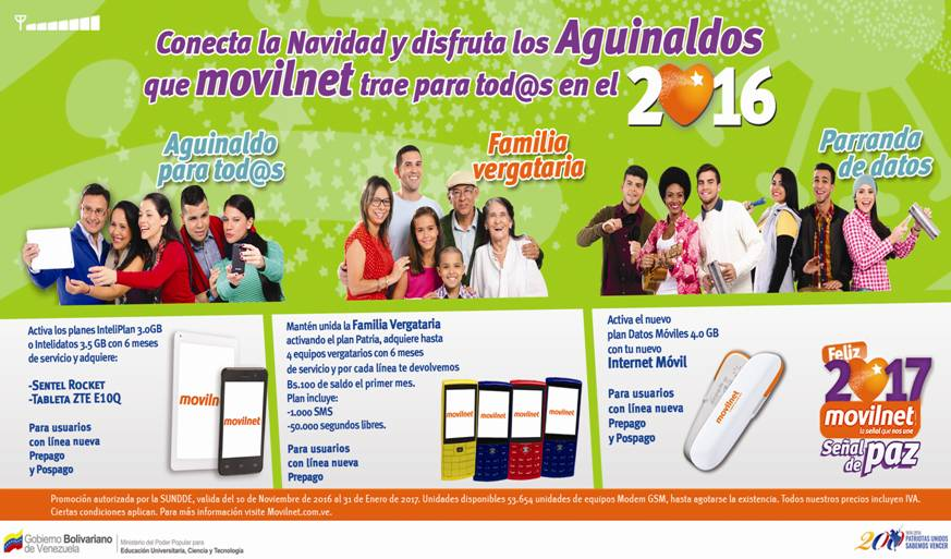 """Movilnet activó la promoción """"Navidad 2016"""""""