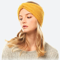 cozy mustard gold sherpa fleece winter headwrap